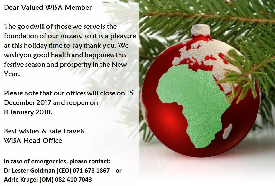 Seasons Greetings From Wisa Water Institute Of Southern Africa
